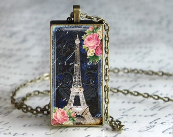 Paris Eiffel Tower Glass Pendant, Glass Art  Jewelry Charm,Eiffel Tower Pendant, Pink Charm, Butterfly Pendant,Eiffel Tower Necklace