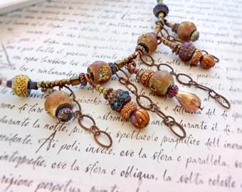 Rose Bronze beaded necklace - lunar geode rustic choker