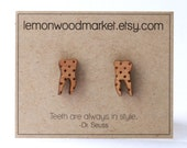 Tooth earrings - alder laser cut wood earrings