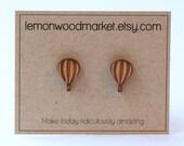 Hot Air Balloon Earrings - alder laser cut wood earrings