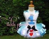 Alice in Wonderland Birthday Tutu Outfit with sparkly hearts and spades- Includes embroidered top and ribbon tutu - Can be customized