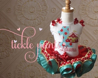 Under the Big Top- Circus Birthday Tutu Outfit, Clown- Red, teal, turquoise, yellow-  Includes embroidered top and ruffled tutu
