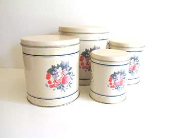 Vintage Kitchen Canister Set Hallmark Cards 1990 White Metal Tins with Fruit Motif