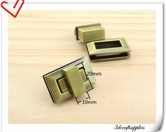 Purse lock  twist  purse turn lock clutch clock  Polish anti bronze 3.3cm x 2cm (1.25 inch x 3/4 inch ) P132