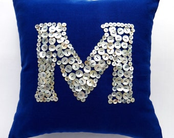 Pearl Button monogrammed Navy pillow -18 inches -choose your own colors - Custom Made