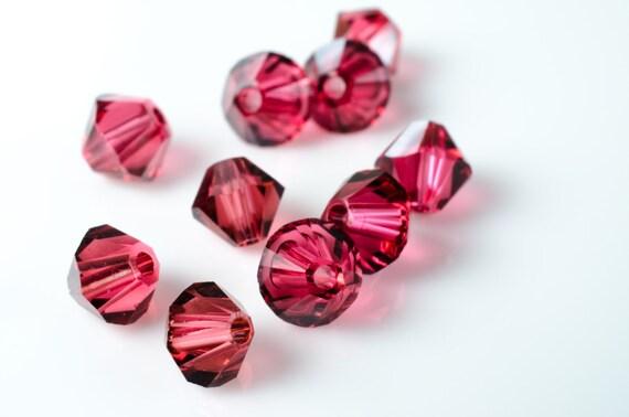 Padparadscha Satin Bicone Crystal Beads