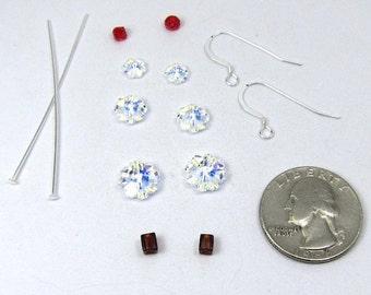 Swarovski Christmas Tree Earring Kit in Crystal AB Sterling Silver Earwires