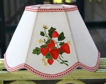 Strawberry Lampshade Uno Lamp Shade, red and green bridge lampshade 7x12x8 scallop hex made from vintage applique linen