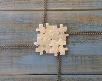 Puzzled Custom Hand Stamped Puzzle Piece Necklace Build Your Own Set Add A Piece by MyBella