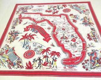 Vintage Florida tablecloth 1940s palm trees flamingos Calypso Miami Palm Beach trailers kitsch Floridiana souvenir