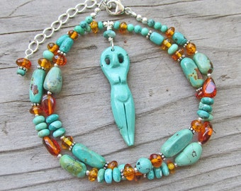 Turquoise Goddess Pendant OOAK Amber Turquoise Tribal Long Statement Necklace