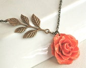 Real Orange Rose Necklace - Peach, Natural Preserved, Floral Jewelry, Real Flower Jewelry