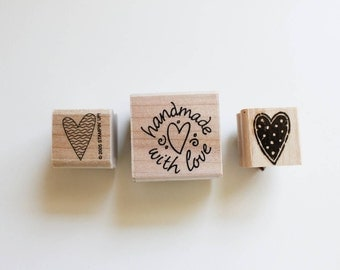 Stampin' Up heart rubber stamp / handmade with love/ polka dot / swirls / stripes