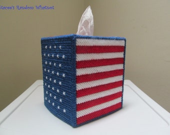 Patriotic Tissue Box Cover - Red White and Blue - American Flag - Fourth of July - Independence Day - Memorial Day - Ready To Ship
