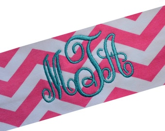 CHEVRON Embroidered MONOGRAMMED INITIAL Cotton Stretch Headband - 2.5 Inch Wide Band - Personalize with Your Colors