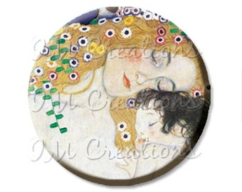 "Pocket Mirror, Magnet or Pinback Button - Wedding Favors, Party themes - 2.25""- Klimt's Mother and Child MR130"