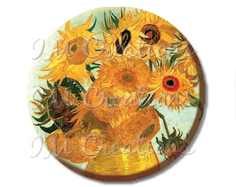 "Pocket Mirror, Magnet or Pinback Button - Wedding Favors, Party themes - 2.25""- Van Gogh's Sunflowers MR410"