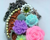 Steampunk Flower Locket Necklace Bejeweled Swarovski Rhinestones Large OOAK