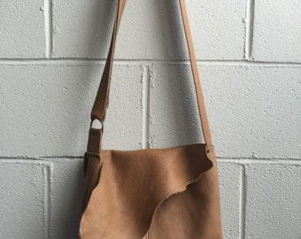 Soft Caramel color medium size Cow hide leather - messenger bag - made in Montreal, Canada