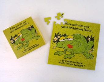 Vintage 1977 Frog Puzzle 7x7 Inch Puzzle 70 Pieces Puzzle Springbok Hallmark Cards Puzzle Frog Prince Small Puzzle
