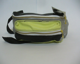 OOAK Perforated Silver/Black/Lime Leather Fanny Pack
