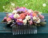 Dried flower hair comb made and shades of Rose and lavender. For your wedding or special occasion.