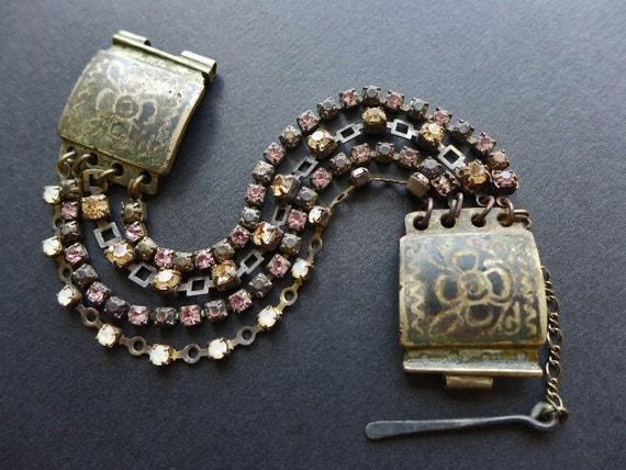 Faculae. Antique kuchi and vintage rhinestone bracelet. Rustic assemblage victorian tribal bracelet.