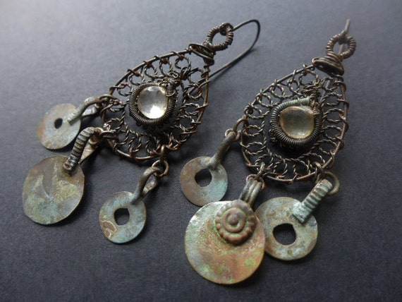 History's Rubbish. Vintage wire work and Kuchi earrings with lemon citrine rustic assemblage Victorian tribal.