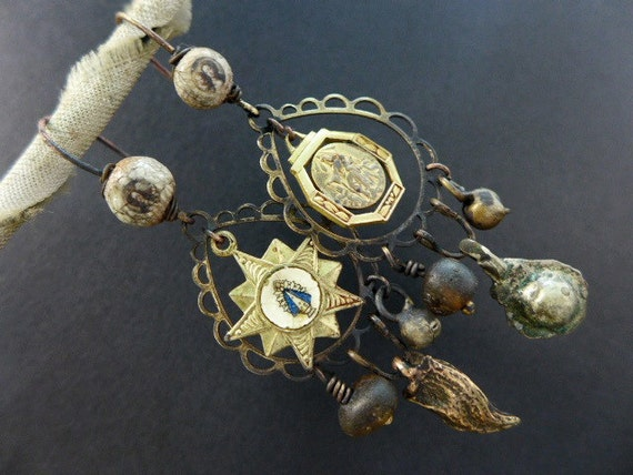Parthenolatry. Dainty rustic Victorian tribal assemblage earrings with Mary medals.