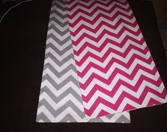 Pink and Gray Reversible Chevron Table Runner