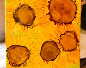 Sunflowers Alcohol Ink Abstract Original Painting on Ceramic Tile