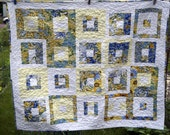Modern Baby Quilt in Blue and Yellow Flowers, Baby Blanket in Improvisational Floral Design