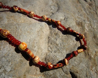 Painted Red Wood Necklace