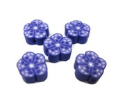 12mm Polymer Clay Flower Beads with Stars in Purple Set of 5