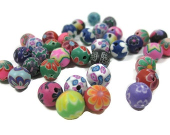 8mm Round Polymer Clay Beads Assorted Variety 50 pieces (A)