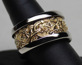 Viking Gripping Beast  Band in 18K Yellow and 14K Palladium White Gold An Original Design by George Postgate size 12.