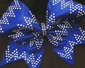 Royal Blue Shattered Glass With Chevron Rhinestone Bling Cheerleader Cheer Hair Bow