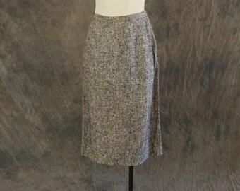 Clearance SALE vintage 50s Pencil Skirt - Raw Silk Tweed Skirt - 1950s High Waist Pencil Skirt Sz S