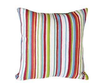 Whimsical Striped Pillow Covers, Colorful Stripes Pillow, Playroom Decor, Nursery Pillow, Red Blue Green White, 16x16, 18x18, 20x20, 14x18