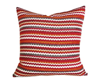 Red Grey White Pillow Cover, Striped Throw Pillow, Couch Cushion Covers, Horizontal Stripes, Lumbar 14x18, 18 20 22 24 26, Modern Home Decor