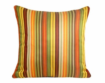 Colorful Fall Pillow Covers, Orange Green Striped Pillows, Fall Throw Pillow, Contemporary Pillow, Lumbar 12x18, 18x18, SPRING  SALE