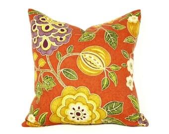 Orange Bohemian Pillows, Orange Floral Pillow Covers, Dorm Decor, Orange Yellow Green Purple Flowers, 16x16, 18x18, 20x20