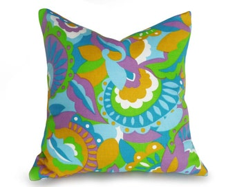 Mod Pillow Covers, 70's Style Pillows, Blue Green Pillow, Abstract Pillows, Unique Throw Pillows, Vintage Decorative Pillows, 18x18, SALE