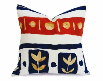 BoHo Pillow Covers, Dorm Pillow Covers, Handpainted Flowers, White Blue Orange Red, Repurposed Eco Chic, Pillow Cases, 18x18
