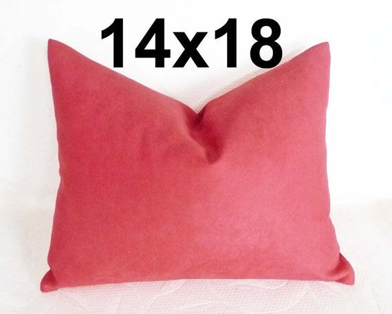 Solid Pink Pillows, Watermelon Pink Lumbar Pillow 14x18 Oblong, Chair Cushion Cover, Decorative Throw Pillows, SALE