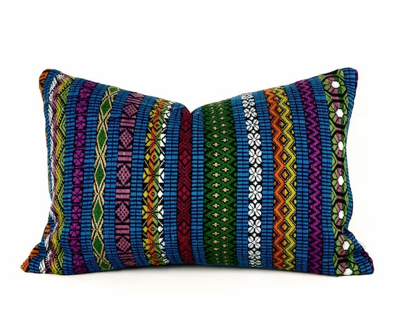Southwestern Lumbar Pillow : Blue Bohemian Pillow Blue Southwestern Pillow Teal Green