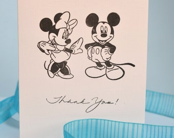 Set of 6 - Mickey  &  Minnie Mouse Hand Stamped Card