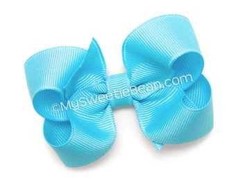 """Mystic Blue Hairbow, 3 inch Grosgrain Bow, No Slip Basic Bow for Girls, Baby, Toddler, Bright Blue Bow, 3"""" Boutique Bow for Toddlers"""