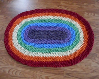 Rainbow Rug Oval Recycled Cotton Rag Rug - Toothbrush or Amish style