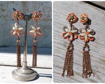 Voilà l'printemps Handmade in France long tassels Floral dangles earrings on leverbacks
